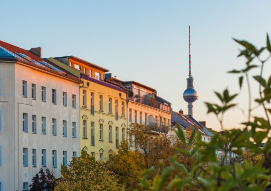 Apartments in Berlin's Prenzlauer Berg neighborhood with Fernsehturm